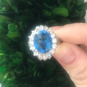Blue Sapphire Cubic Zirconia Ring